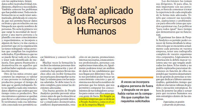 Nombran en el Heraldo a Blipol HR Analytics como empresa de referencia en People Analytics en Aragón